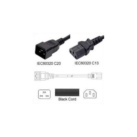 C20 Male to C13 Female 1.2 Meter 15 Amp 250 Volt 14/3 SJT Black