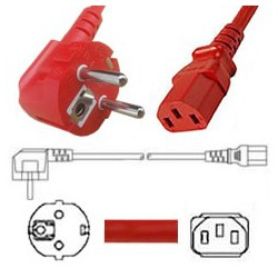Red Power Cord Schuko CEE 7/7 Down Male to C13 Female 1.8