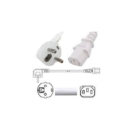White Power Cord Schuko CEE 7/7 Down Male to C13 Female 1.8