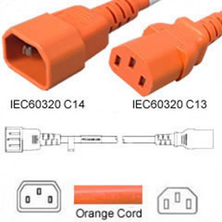 Orange Power Cord C14 Male to C13 Female 3.0 Meters 10 Amp 250