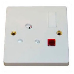 India BS546 15 Amp 250 Volt White Panel Mount Wall Socket -