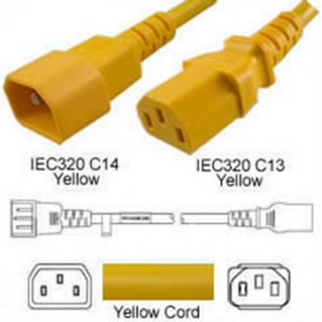 Yellow Power Cord C14 Male to C13 Female 1.0 Meters 10 Amp 250