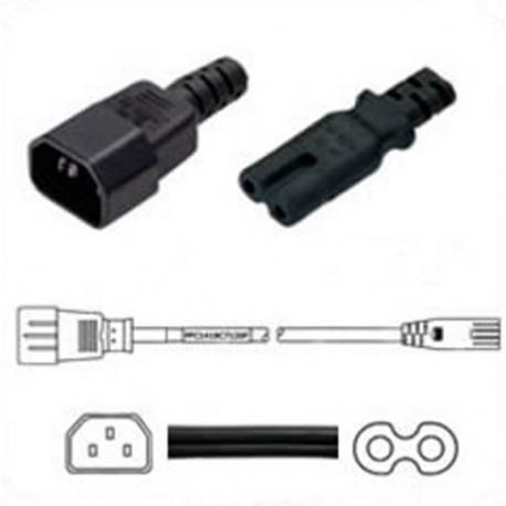 C14 Male to C7 Female 1.2 Meter 2.5 Amp 250 Volt 18/2 SPT-2