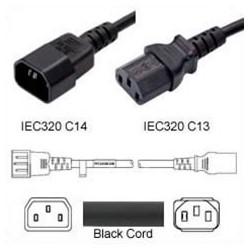 C14 Male to C13 Female 4.0 Meters 10 Amp 250 Volt H05VV-F 3x1.0