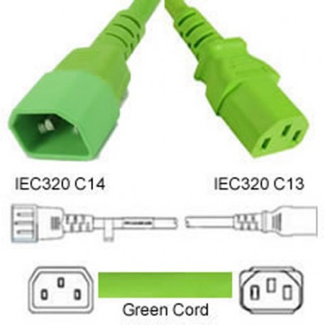 Green Power Cord C14 Male to C13 Female 1.0 Meters 10 Amp 250