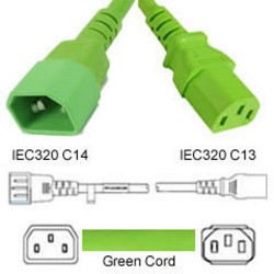 Green Power Cord C14 Male to C13 Female 1.2 Meter 10 Amp 250