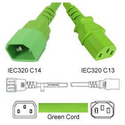 Green Power Cord C14 Male to C13 Female 1.8 Meters 10 Amp 250