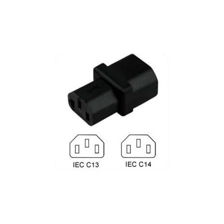 C14 Plug to C13 Connector Block Adapter - Black
