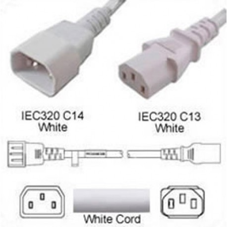 White Power Cord C14 Male to C13 Female 5.0 Meters 10 Amp 250