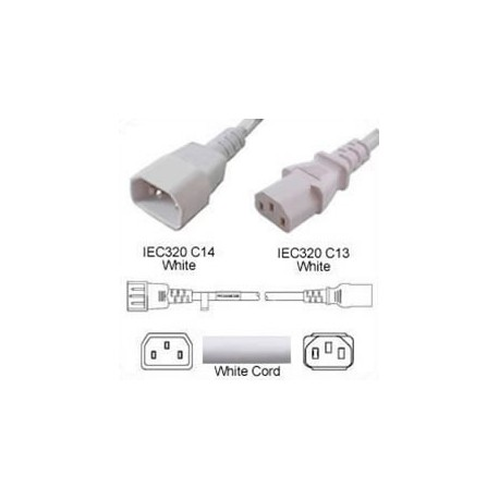 White Power Cord C14 Male to C13 Female 1.8 Meters 10 Amp 250