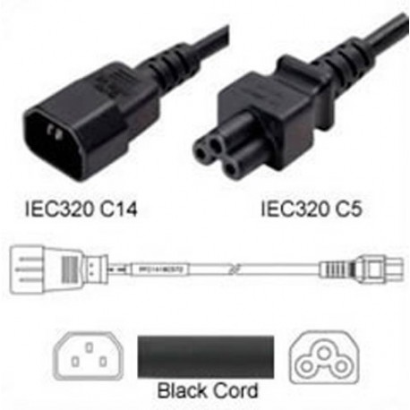 C14 Male to C5 Female 1.0 Meters 2.5 Amp 250 Volt H05VV-F