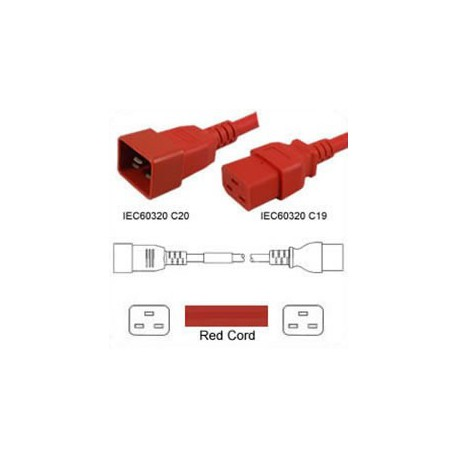 Red Power Cord C20 Male to C19 Female 1.0 Meters 16 Amp 250