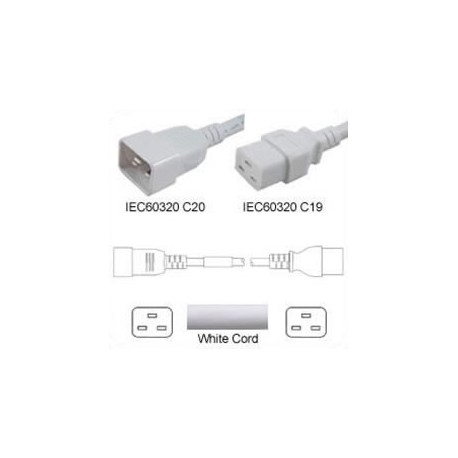 White Power Cord C20 Male to C19 Female 2.0 Meters 16 Amp 250
