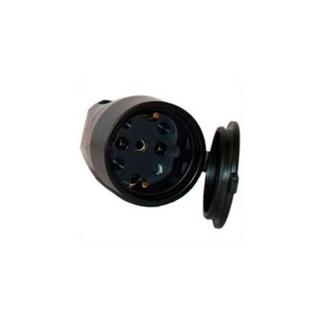 Euro CEE 7/3 16 Amp 250 Volt Black Straight Entry Female