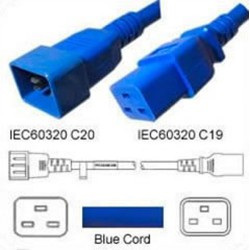 Blue Power Cord C20 Male to C19 Female 0.8 Meter 16 Amp 250
