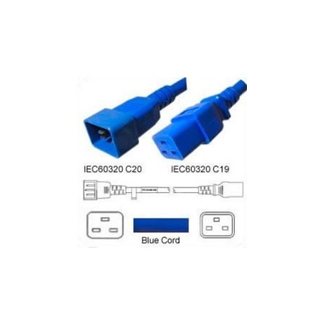 Blue Power Cord C20 Male to C19 Female 2.0 Meters 16 Amp 250