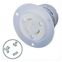 Hubbell HBL2616 NEMA L5-30 Flanged Female Outlet - White