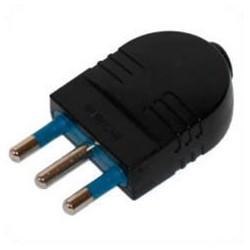 Italy CEI 23-16 16 Amp 250 Volt Black Straight Entry Male Plug