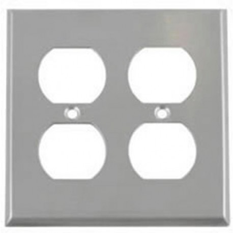 Hubbell SS82 Wall Plate AC 2 Gang 2 Duplex Standard Stainless