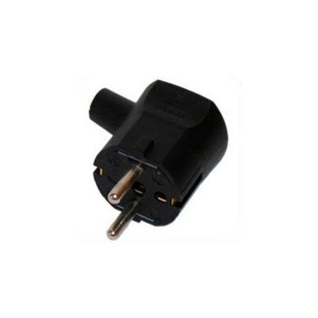 Schuko CEE 7/7 16 Amp 250 Volt Black Down Angle Entry Male Plug