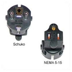 Schuko CEE 7/7 Male Plug to North America NEMA 5-15 Female