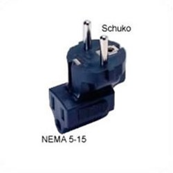 Schuko CEE 7/7 Male Plug to NEMA 5-15 Female Connector Angled