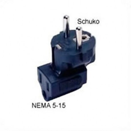 Schuko CEE 7/7 Male Plug to NEMA 5-15 Female Connector Angled