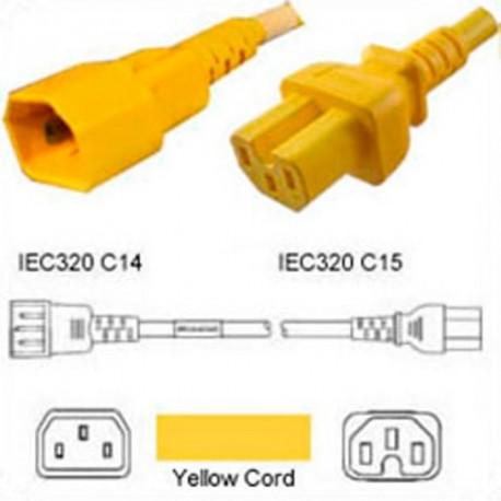 Yellow Power Cord C14 Male to C15 Female 1.2 Meter 15 Amp 250