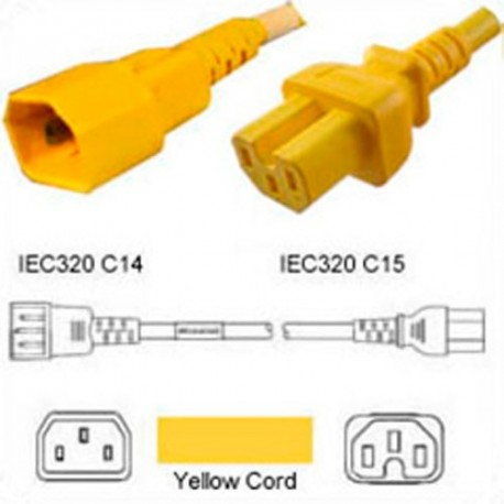 Yellow Power Cord C14 Male to C15 Female 1.5 Meters 15 Amp 250