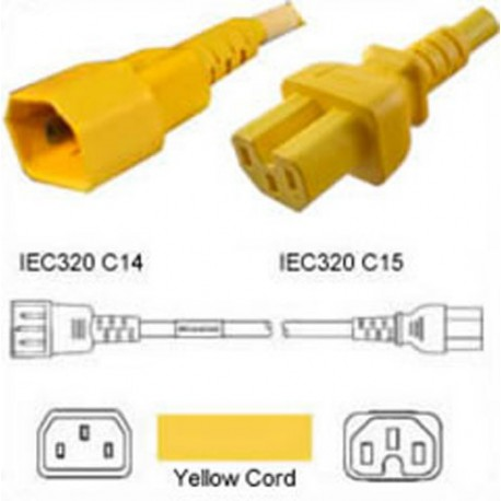 Yellow Power Cord C14 Male to C15 Female 2.4 Meters 15 Amp 250