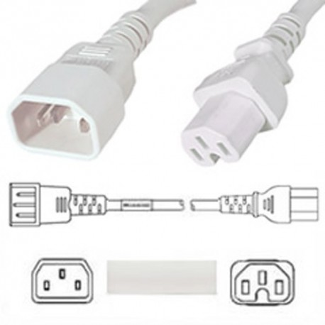 White Power Cord C14 Male to C15 Female 0.9 Meter 15 Amp 250