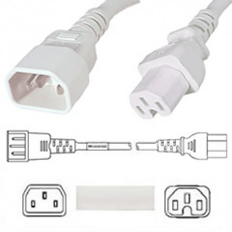 White Power Cord C14 Male to C15 Female 1.8 Meters 15 Amp 250