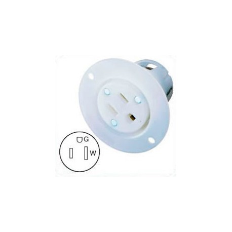 Hubbell HBL5279C NEMA 5-15 Flanged Female Outlet - White