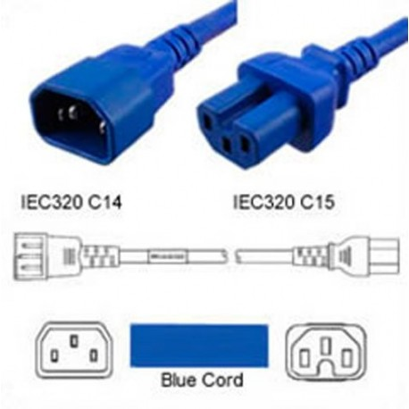 Blue Power Cord C14 Male to C15 Female 0.3 Meter 15 Amp 250
