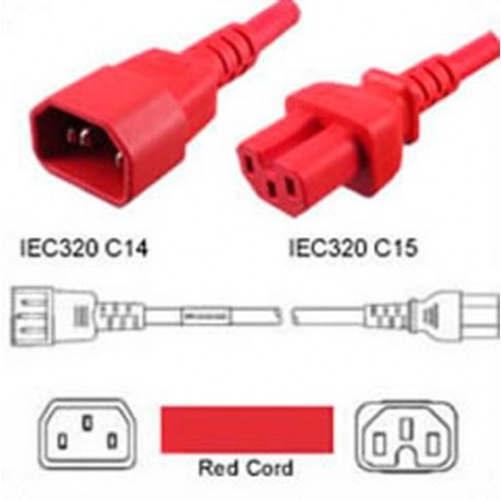 Red Power Cord C14 Male to C15 Female 3.0 Meters 15 Amp 250