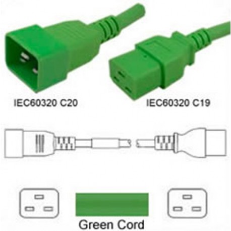 Green Power Cord C20 Male to C19 Female 1.0 Meters 16 Amp 250