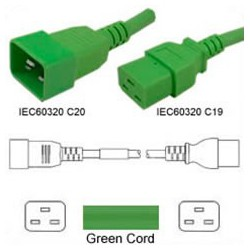 Green Power Cord C20 Male to C19 Female 1.8 Meters 16 Amp 250