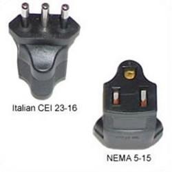 Italy CEI 23-16 Male Plug to North America NEMA 5-15 Female