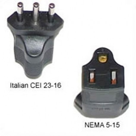 Italy CEI 23-16 Male Plug to North America NEMA 5-15 Female