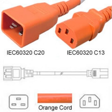 Orange Power Cord C20 Male to C13 Female 4.5 Meters 15 Amp 250