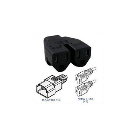 Plug Adapter IEC 60320 C14 Plug to 2 x NEMA 5-15 Connector