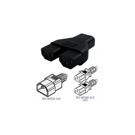 C14 Plug to x2 C13 Connector Block Adapter - Black