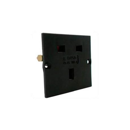 U.K. BS 1363 13 Amp 250 Volt Black Panel Mount Wall Socket