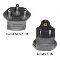 Switzerland SEV 1011 Male Plug to North America NEMA 5-15