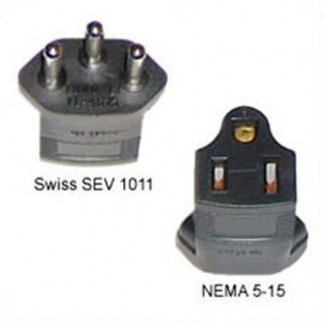 Switzerland SEV 1011 Male Plug to North America NEMA 5-15