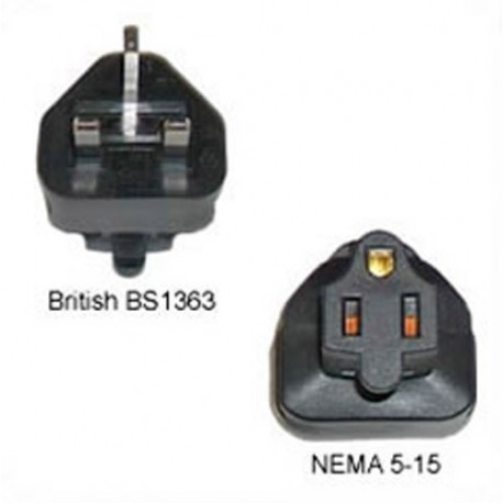 U.K. BS 1363 Male Plug to North America NEMA 5-15 Female