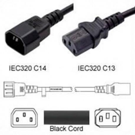 C14 Male to C13 Female 1.2 Meter 15 Amp 250 Volt 14/3 SJT Black